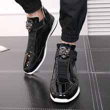 Load image into Gallery viewer, New Fashion High Top Casual Shoes For Men Super Cool lion Head gold silver botas Mens Casual Shoes Men High Top PU Leather Shoes