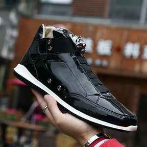 New Fashion High Top Casual Shoes For Men Super Cool lion Head gold silver botas Mens Casual Shoes Men High Top PU Leather Shoes
