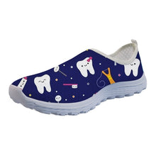 Load image into Gallery viewer, INSTANTARTS Funny 3D Cartoon Dentist/Tooth Pattern Female Black Summer Sneakers Lightweight Mesh Air Flat Shoes Walking Footwear