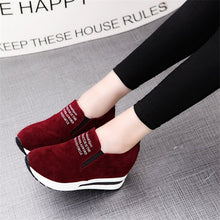 Load image into Gallery viewer, 2018 Flock New High Heel Lady Casual black/Red Women Sneakers Leisure Platform Shoes Breathable Height Increasing Shoes