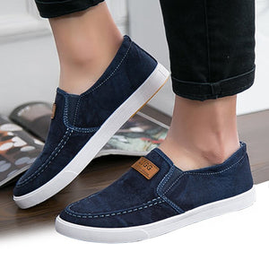 Summer Canvas Shoes Men Sneakers Casual Flats Slip On Loafers Moccasins Male Shoes Adult Denim Breathable Gray zapatos hombre
