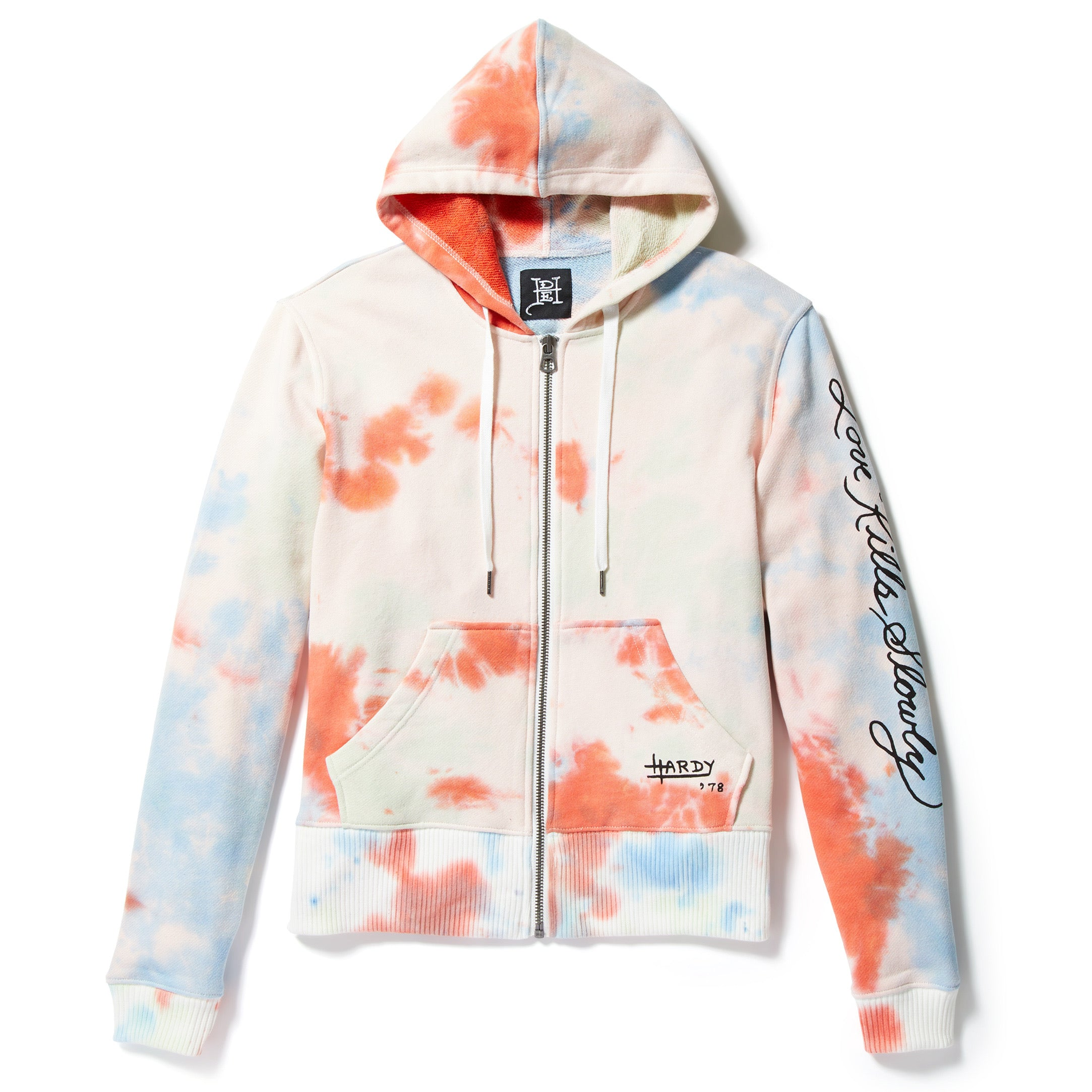 Panther and Roses Tie-Dye Zip up Hoodie
