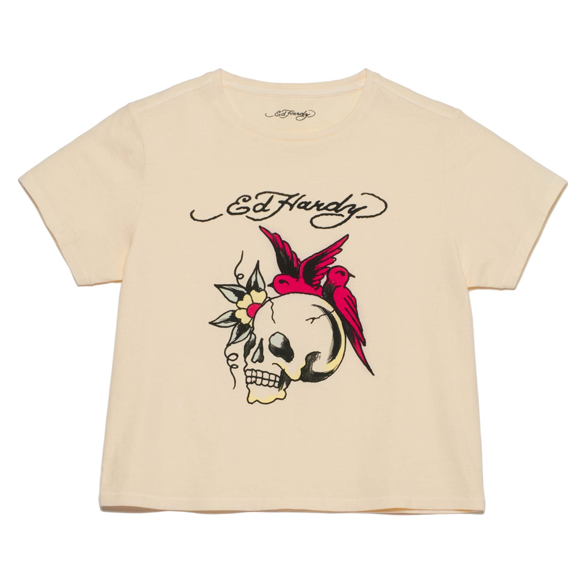 "WOMENS ""SWIFTLET SKULL"" CROPPED TEE"