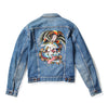Battle Skull Embroidered Denim Jacket - Custom
