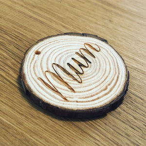 Natural Wooden Disc Table Name