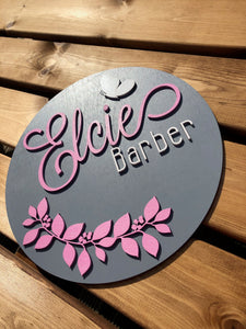 Floral Butterfly Name Plaque