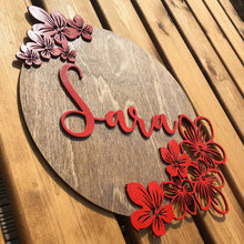 Load image into Gallery viewer, Floral Name Plaque
