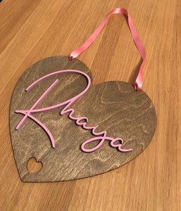 Hanging Heart Door Sign