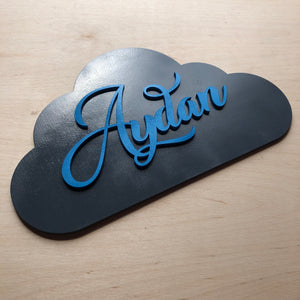 Solid Name Cloud Door Sign