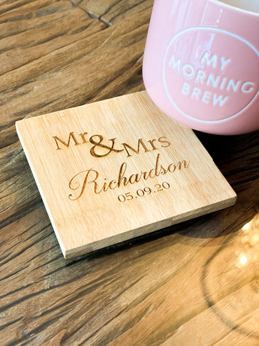 Mr&Mrs Name/Date Coaster x 4