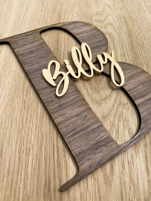 Baby Initial Name Plaque