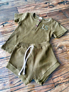 Baby Casual Ribbed Short And Top Set