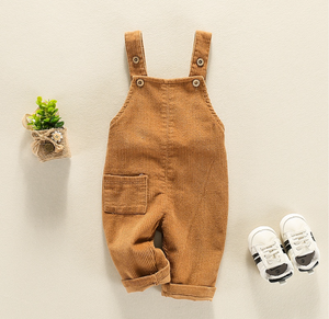Corduroy Solid Pocket Overalls