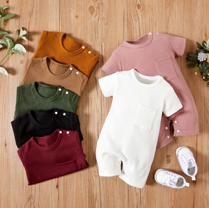 Baby Ribbed Pocket Short Sleeve Romper