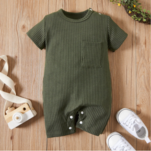 Load image into Gallery viewer, Baby Ribbed Pocket Short Sleeve Romper