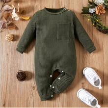 Load image into Gallery viewer, Baby Ribbed Pocket Long Sleeve Romper