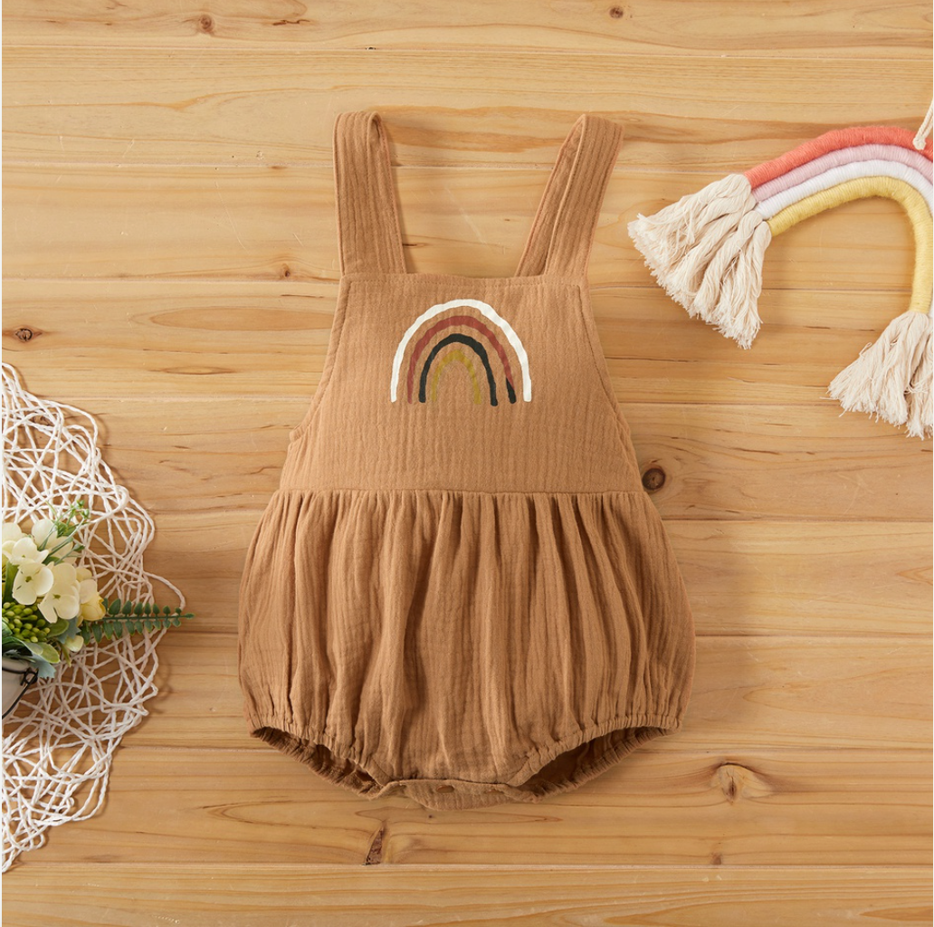 Tan Rainbow Romper