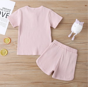 Toddler/Children's Casual Ribbed Short And Top Set