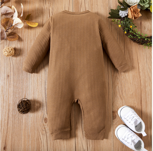 Baby Ribbed Pocket Long Sleeve Romper