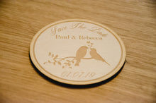 Load image into Gallery viewer, Wooden Love Bird Save The Date Disc