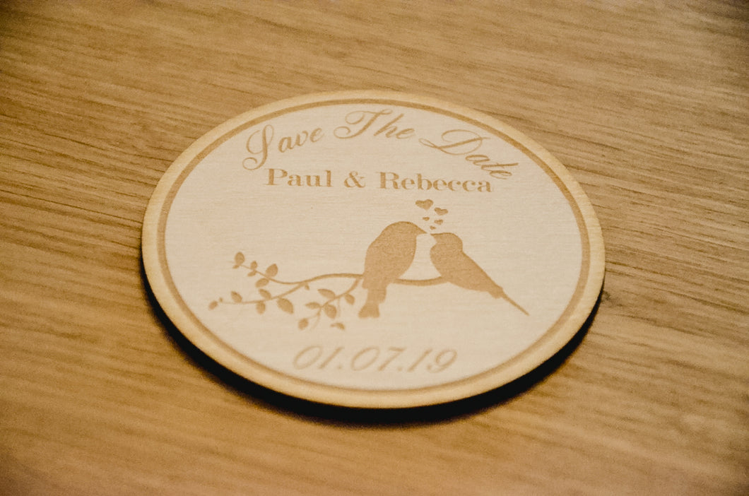 Wooden Love Bird Save The Date Disc