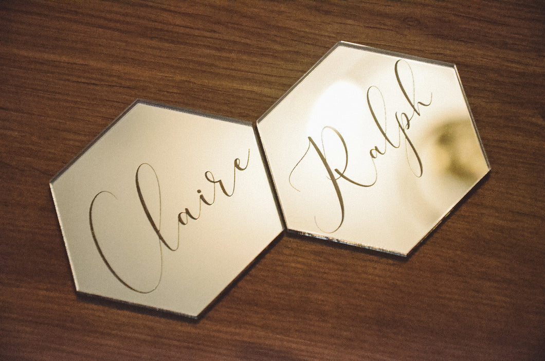 Mirrored Acrylic Geometric Place Names