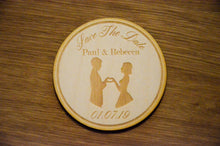 Load image into Gallery viewer, Wooden Couple Save The Date Disc