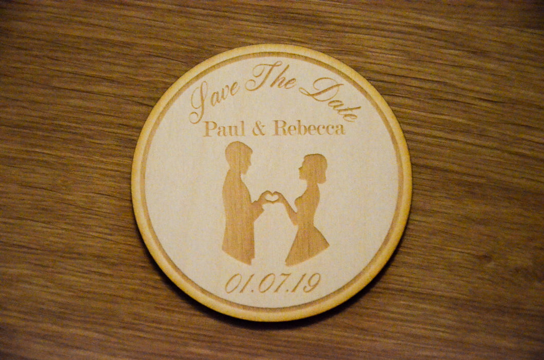 Wooden Couple Save The Date Disc