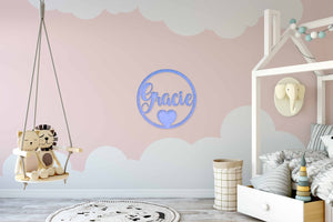 Circle Heart Name Wall Sign