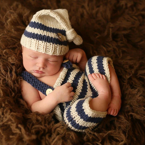 Newborn Knit Cap & Suspender Pants Set