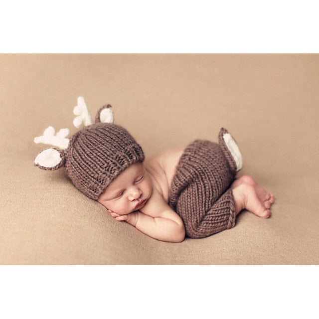 Newborn Photography Props baby hat Christmas Deer Design Handmade Crochet Deer Costume Set Knitted Hats and Pants set
