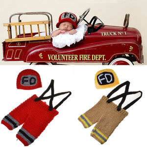 Newborn Crochet Firefighter Set