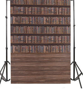 Vinyl Vintage Book Case Backdrop-B1-TinyPropShop