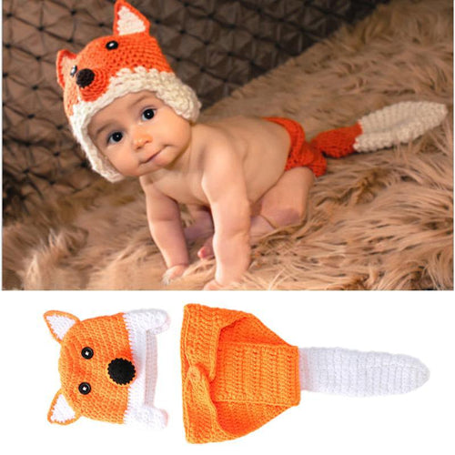 Newborn Knit Fox Cap & Tail Set