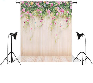 Vinyl Wooden Floor W/ Flowers Background-B1-TinyPropShop