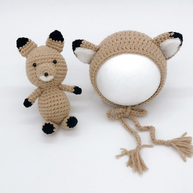 Newborn Knitted Fox Cap & Fox Toy
