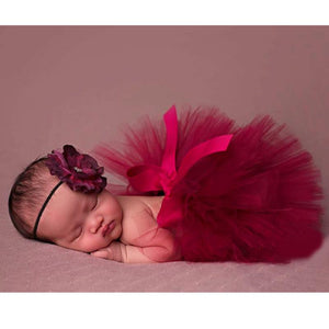 Newborn Tutu Skirt & Flower Headband