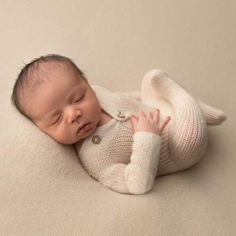 Newborn Knit White Jumpsuit