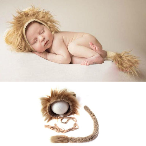 Newborn Lion Cap & Tail Set