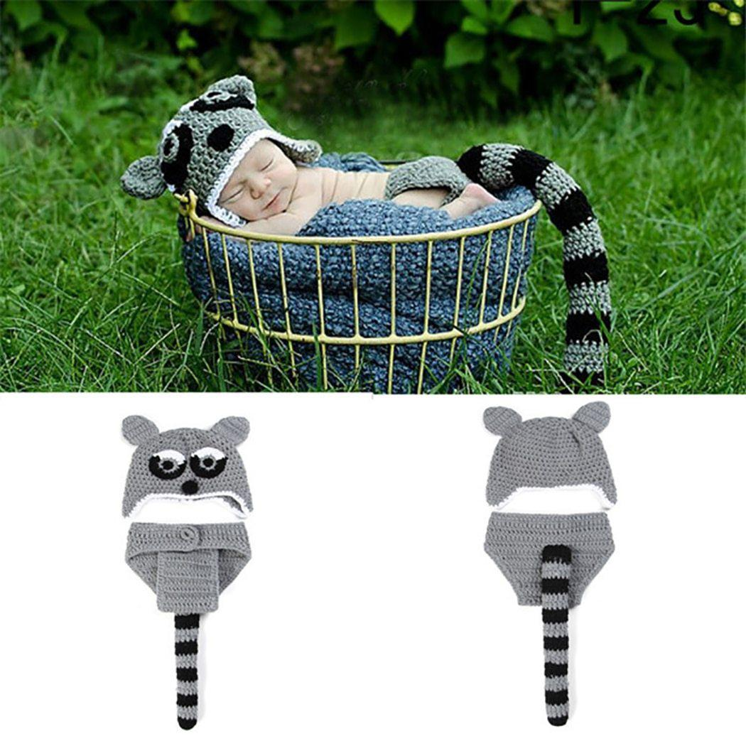 Newborn Knit Raccoon Costume