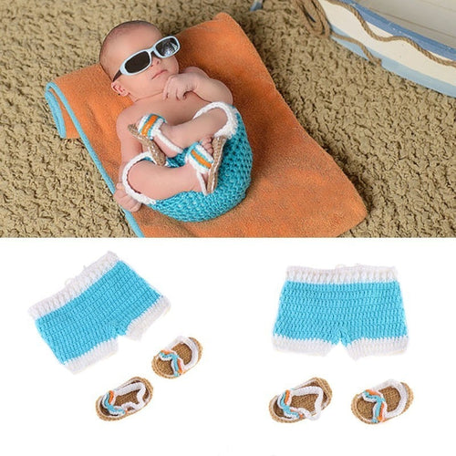 Newborn Knit Bathing Suit & Sandals