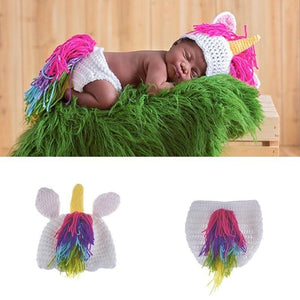 Newborn Knit Rainbow Unicorn Costume