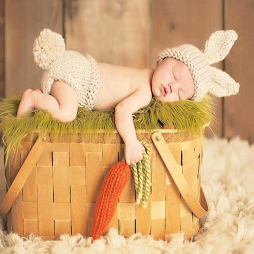 Newborn Knit Rabbit & Carrot Set