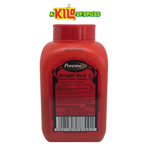BRIGHT RED Preema Food Colour Powder - A Kilo of Spices