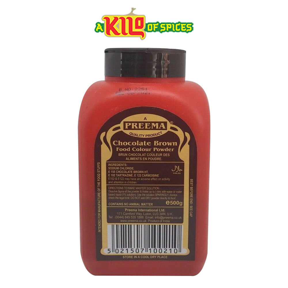 CHOCOLATE BROWN Preema Food Colour Powder - A Kilo of Spices