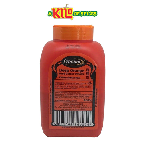 DEEP ORANGE Preema Food Colour Powder - A Kilo of Spices