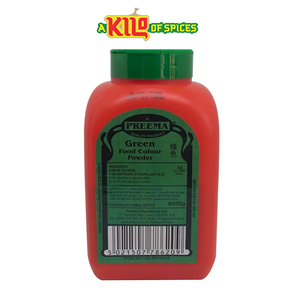 GREEN Preema Food Colour Powder - A Kilo of Spices