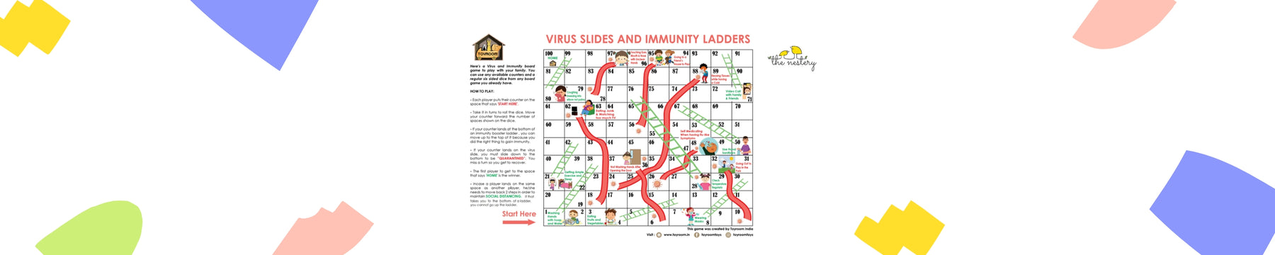 Free Printable Board Game: Snakes & Ladders with a viral twist