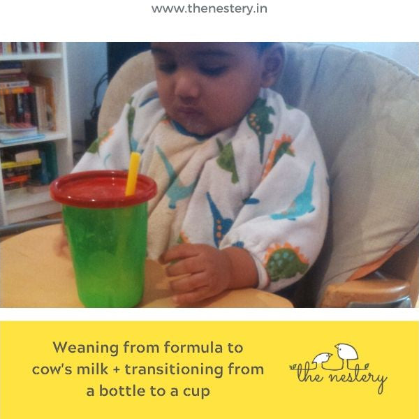 Weaning from formula to cow's milk + transitioning from a bottle to a cup