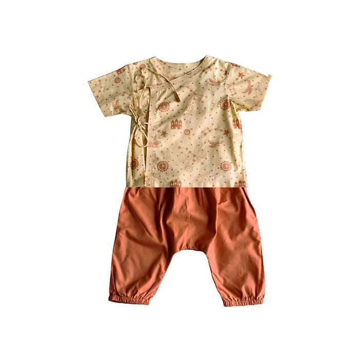 UNISEX ORGANIC DHRUVTARA PRINT ANGARAKHA TOP WITH NATURAL DYED ORANGE PANTS